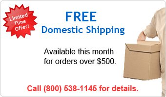 Limited Time Offer! FREE Domestic Shipping - Available this month for orders over $500. Call (800) 538-1145 for details.