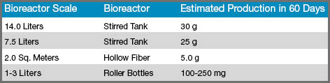 Bioreactor Scale Production Chart